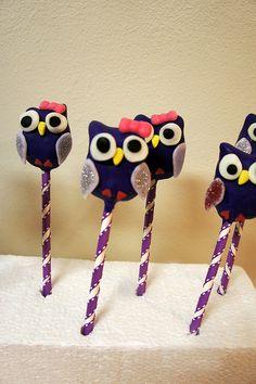 sparkly purple owl cake pops