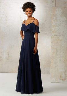 Morilee by Madeline Gardner Bridesmaids Style 21509 | Fluttery Ruffles Drape the Shoulders and Neckline of This Chiffon Bridemaids Dress Creating a Soft Romantic Feel. Zipper Back. Shown in Sage and Navy