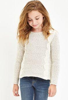 Girls Crochet-Trim Marled Sweater (Kids) | Forever 21 girls - 2000146309