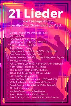 21 Lieder für die Teenager-Disco, Playliste mit Hip-Hop, Charts bis Indie-Rock                                                                                                                                                                                 Mehr