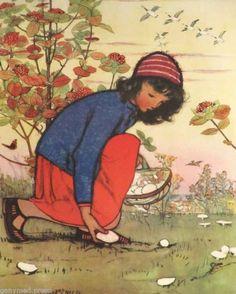 Muriel Dawson - Picking Mushrooms - print | eBay