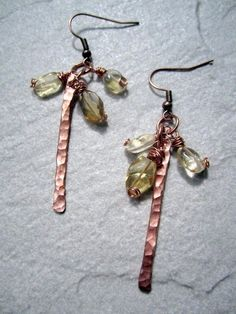 hammered copper stick earrings by shawna