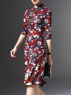 Red Floral Bodycon Half Sleeve Polyester Midi Dress