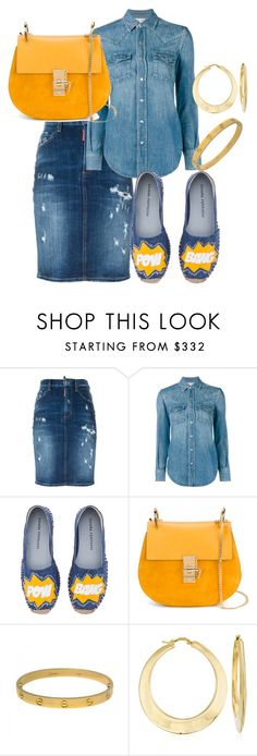 """All Denim"" by stylesbylex on Polyvore featuring Dsquared2, Yves Saint Laurent, Chiara Ferragni, Chloé, Cartier and Ross-Simons"