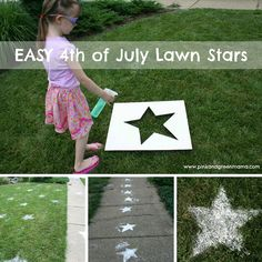 Outdoor 4th of July Decor • Great ideas and Tutorials! Including how to make these fun diy 4th of july lawn stars from 'pink and green mama'.