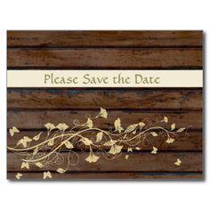 Dark Brown Wood Save the Date