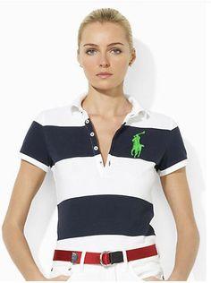 9dbd31dc8cb51d cheap ralph lauren Women s Big Pony Striped Short Sleeve Polo Shirt Navy  Blue   White W