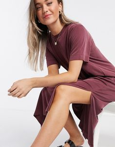 Monki Isabella recycled cupro midi t-shirt dress in wine