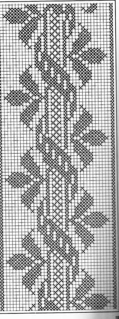 crochet and arts filet crochet Filet Crochet, Crochet Borders, Crochet Chart, Thread Crochet, Cross Stitch Borders, Cross Stitch Designs, Cross Stitching, Cross Stitch Embroidery, Cross Stitch Patterns