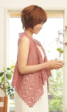 Crochet sleeveless shirt - pattern Japanese diagram.