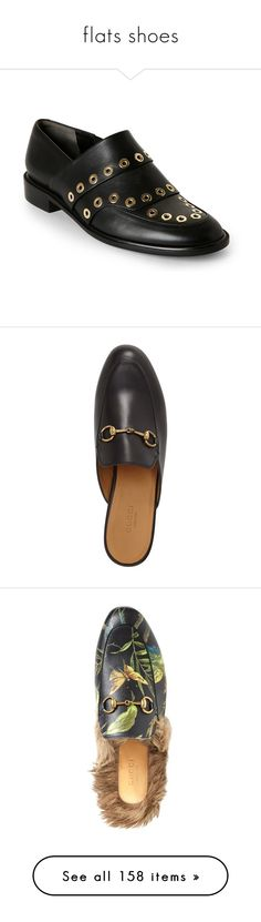 """""""flats shoes"""" by nanawidia ❤ liked on Polyvore featuring shoes, flats, black, black round toe flats, robert clergerie shoes, slip on flats, flat slip on shoes, low heel shoes, loafers and gucci mules"""