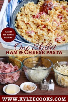 This One Skillet Ham & Cheese Pasta is a weeknight winner ready in less than 30 minutes that makes EVERYONE need seconds. Change up the pasta, and the cheese, but make it over and over!  #pasta #dinner #weeknight #recipe #kyleecooks via @kyleecooks