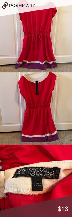 Red, Purple, and Cream Color Block Dress Short sleeve casual block colored dress. There is an elastic waistband with strings in the middle to tie. Scoop neckline with zipper in the back. Cream slip underneath so you are extra protected! This dress is awesome for a graduation party, church, or a family event. Cute and classy🛍😉 Juniors L by Bebop at Macy's Macy's Dresses