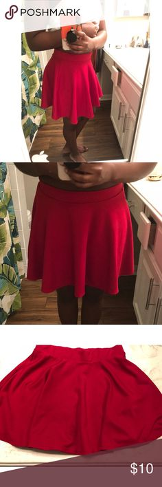 Red Skater Skirt Cute, comfy, red. What more could you want? 🤷🏾♀️😊  I've worn this once & it's in such great condition. Ambiance Skirts Mini
