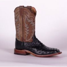 Tony Lama Mens Black Full Quill Ostrich Boot | My hubby would love these.