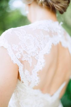 Elegant open back lace wedding dress; Click to see more gorgeous details of this wedding; photo: Hunter Ryan Photography