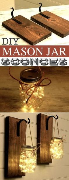 DIY Mason Jar Sconces -- A lot of DIY mason jar crafts, ideas and projects here! Some really great home decor and gift ideas. Listotic.com by Hannahbanana6688