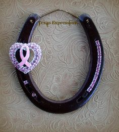 Breast Cancer Awareness Horseshoe. Heart with Breast Awareness Ribbon inside. Nice !