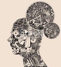 Full time thinker. The science of mind. Lizenzfreie Vektorillustrationen