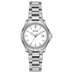 15fcac3d90d Citizen EW1960-59A Women s Silhouette Sport Eco-Drive White Dial Steel  Bracelet Watch