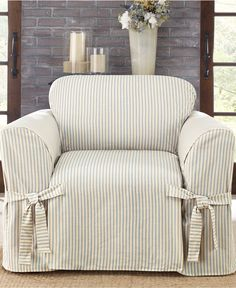 Chair Covers Couch Leather Campaign 207 Best Slipcovers Images Armchair Furniture Makeover Sure Fit Ticking Stripe Slipcover For The Home Macy S