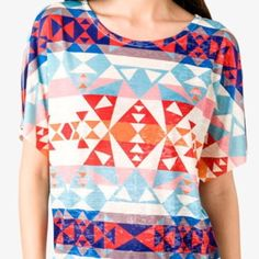 Forever 21 shirt So cute. Gently used. Colorful. Light signs of wear Forever 21 Tops Tees - Short Sleeve