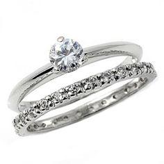 Sterling Silver wedding set size 7 CZ Round cut Engagement Ring Bridal New w21 #BladesBling