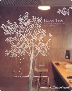 Happy Tree -- Viny Wall Decals,Wall Stickers,Tree Wall Art, Wall Decor,  Living Room Nursery Children. $68.00, via Etsy.