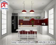 Tủ bếp hiện đại với thiết kế kết hợp đảo bếp và quầy bar PTM-6