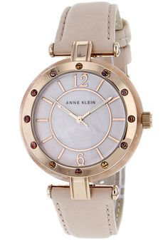 Price:$71.38 #watches Anne Klein 10-9994RGLP, Stainless steel case, Leather strap, Mother of pear dial, Quartz movement, Scratch-resistant mineral, Water resistant up to 3 ATM - 30 meters - 100 feet