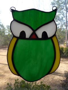 Stained Glass Abstract Owl by WildwindsGlass on Etsy, $13.00