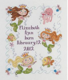 And want this too Mermaid Bay Birth Record - Cross Stitch Kit