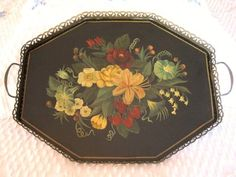 Antique tole & brass tray with morning glory, lily, roses & strawberry