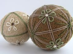 wheat duet - hand embroidered thread balls - japanese temari