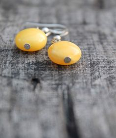 Amber Earrings / Yellow Natural Amber / Mellow by DreamsFactory, $25.00