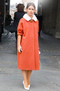 Miroslava Duma with a bright orange coat in Paris #streetstyle