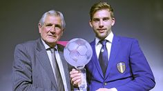 Player Of The Year for 2016,Charlie Taylor, receives his award from the legendary Norman Hunter