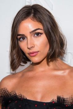 """The color: Smoky Chocolate Celebrity inspiration: Olivia Culpo Description: """"This is a medium to dark brunette with subtle highlighting,"""" said Olivia Culpo Hair, Fall Hair Color For Brunettes, Blunt Haircut, Blunt Lob, Fall Hair Cuts, Celebrity Haircuts, Brown Balayage, Trending Haircuts, Brunette Hair"""
