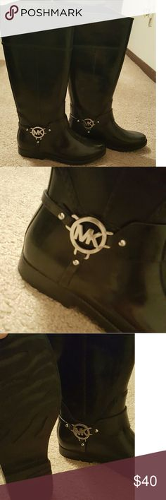 Michael Kors Fulton Harness Tall Rainboots Black with silver detailing Michael Kors Shoes Winter & Rain Boots