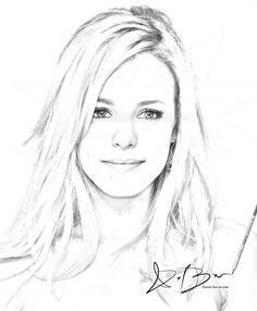 Hair Sketch, Sketch 2, Rachel Mcadams, Human Face Drawing, Fashion Drawing Tutorial, Portrait Sketches, How To Draw Hair, Digital Portrait, Beauty Hacks