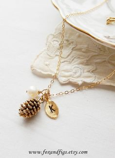 Gold Woodland Pinecone Necklace, Personalized Necklace, Pearl Necklace, Monogram Necklace, Hand Stamped Necklace, Bridesmaid Necklace
