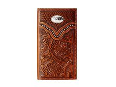 Rodeo wallet with floral embossing in pure leather and silver metal accents.