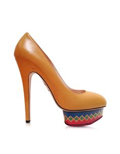 Charlotte Olympia Dolly Maraca Yellow Suede w/Multicolor Platform Pump  at FORZIERI