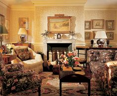 Architectural Digest photo of Mark Hampton interior. Print Chesterfield sofa.