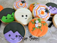 Vampire, Frankenstein, Ghost, Pumpkin & Spider Web Circle Halloween Cookies