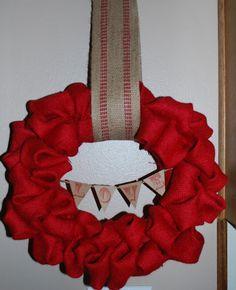 Red Burlap Bubble Wreath