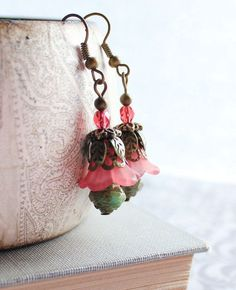 lucite flowers for jewelry making | Coral Red Earrings, Lucite Flower Jewelry, Floral Accessories, Green ...