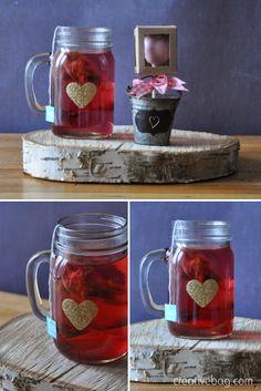 diy for valentine's day - add glitter hearts to mason jar mugs ... dishwasher safe after 28 days   Creative Bag