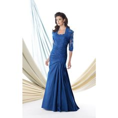 Mon Cheri 114904 Special Occasions Long Strapless Mid-Length ($518) ❤ liked on Polyvore featuring dresses, gowns, formal dresses, peacock, formal gowns, mermaid evening gowns, blue evening dresses, formal evening gowns and lace evening gowns