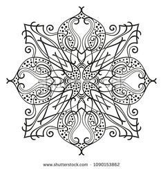 Square ornamental mandala, Isolated design element for coloring book, print on T-shirt, textile, tattoo or any other decoration, Vector illustration